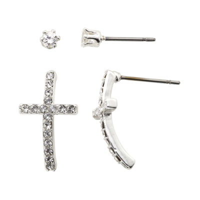the skinny® Crystal Cross and Stud Earring Set