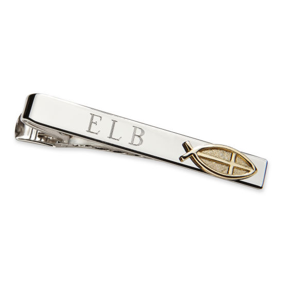 Personalized Tie Bar w/ Gold-Tone Christian Fish