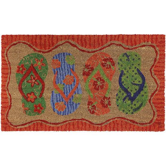 JCPenney Home™ Fancy Flip Flops Coir Doormat