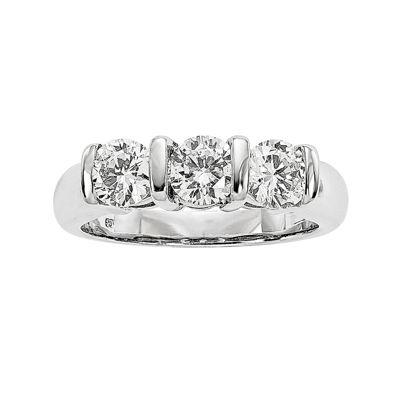 1 1/2 CT. T.W. Diamond 14K White Gold 3-Stone Ring