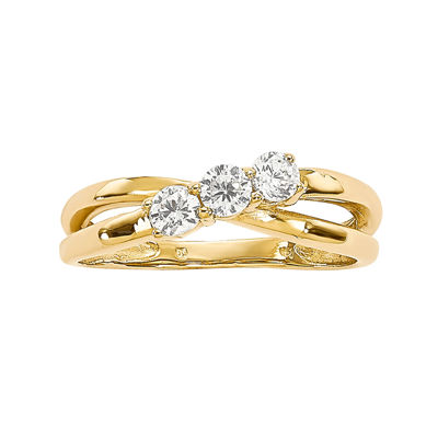 1/3 CT. T.W. Diamond 14K Yellow Gold 3-Stone Engagement Ring
