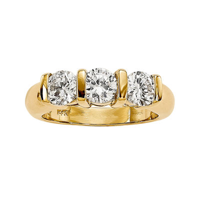 1 1/2 CT. T.W. Diamond 14K Yellow Gold 3-Stone Ring