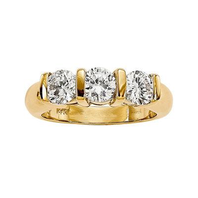 1 1/2 CT. T.W. Diamond 14K Yellow Gold 3-Stone Ring