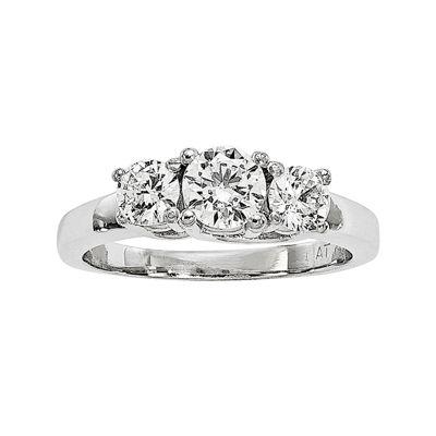 1 CT. T.W. Diamond Platinum 3-Stone Engagement Ring