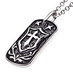 Black Stainless Steel Cross Dog Tag Pendant Necklace
