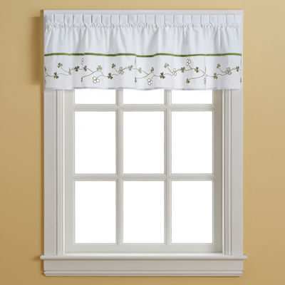 Clover Embroidered Rod-Pocket Valance