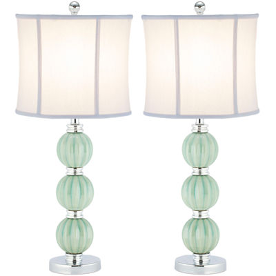 Safavieh Leyla Set of 2 Green Globe Lamp