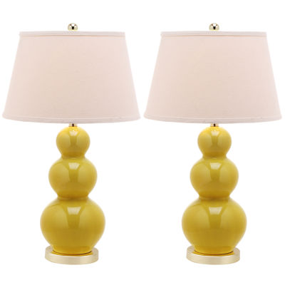 Safavieh Ander Triple-Gourd Ceramic Lamps- Set of2