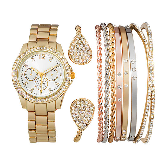 Gold-Tone Womens Watch Box Set