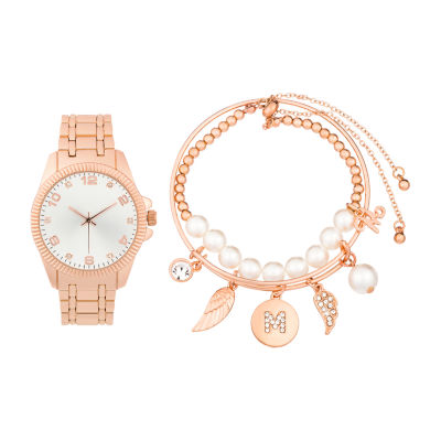 Alexis Bendel M Initial Womens Rose Goldtone 3-pc. Watch Boxed Set-7151r-42-B29