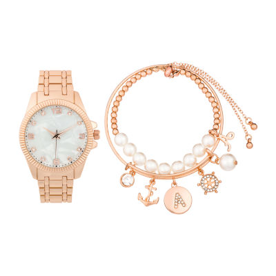 Alexis Bendel A Initial Womens Rose Goldtone 3-pc. Watch Boxed Set-7154r-42-E29