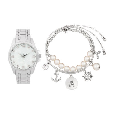 Alexis Bendel A Initial Womens Silver Tone Watch Boxed Set-7154s-42-E28