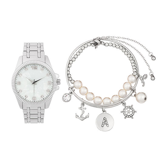 Alexis Bendel A Initial Womens Silver Tone 3-pc. Watch Boxed Set-7154s-42-E28