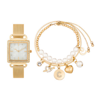 Alexis Bendel C Initial Womens Gold Tone 3-pc. Watch Boxed Set-7157g-42-E27