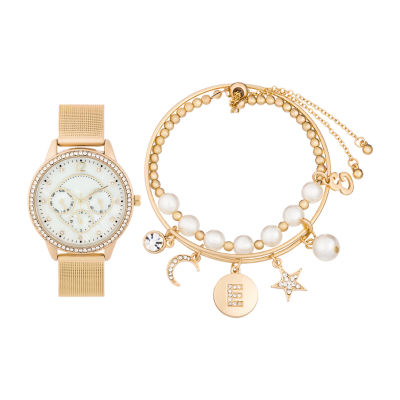 Alexis Bendel E Initial Womens Gold Tone Watch Boxed Set-7161g-42-E27