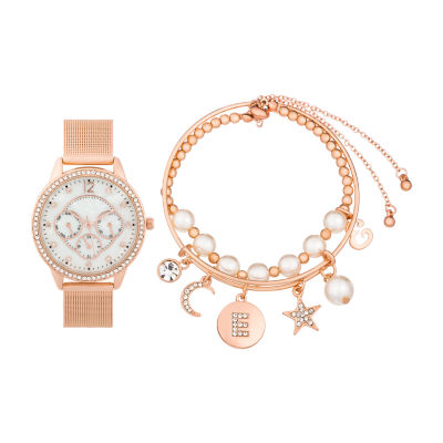 Alexis Bendel E Initial Womens Rose Goldtone 3-pc. Watch Boxed Set-7161r-42-E29