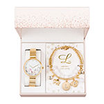 Alexis Bendel L Initial Womens Gold Tone 3-pc. Watch Boxed Set-7163g-42-F27