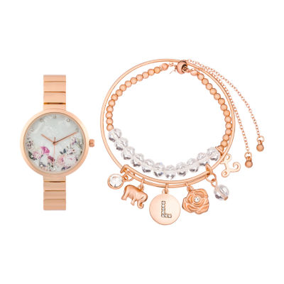 Alexis Bendel L Initial Womens Rose Goldtone Watch Boxed Set-7163r-42-F29