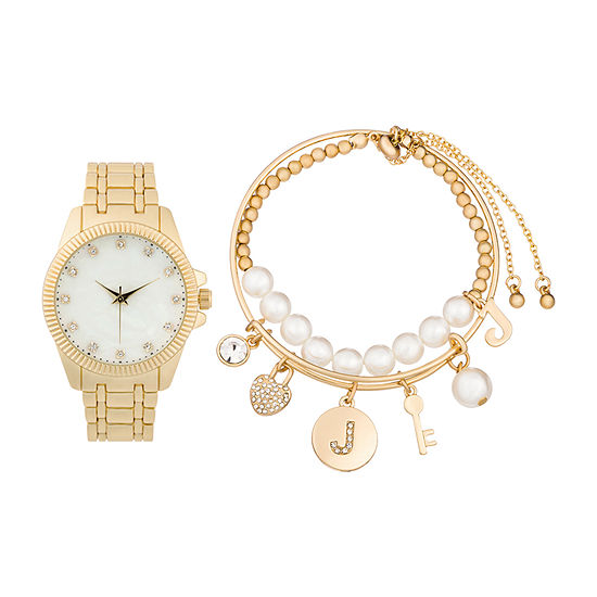 Alexis Bendel J Initial Womens Gold Tone 3-pc. Watch Boxed Set-7164g-42-E27