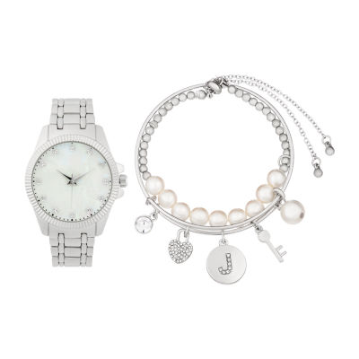 Alexis Bendel J Initial Womens Silver Tone Watch Boxed Set-7164s-42-E28