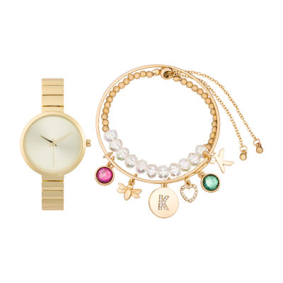 Alexis Bendel K Initial Womens Gold Tone Watch Boxed Set-7168g-42-A27