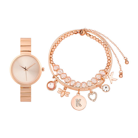 Alexis Bendel K Initial Womens Rose Goldtone 3-pc. Watch Boxed Set-7168r-42-C29