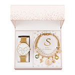 Alexis Bendel S Initial Womens Gold Tone 3-pc. Watch Boxed Set-7182g-42-E27