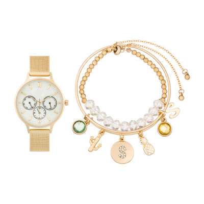 Alexis Bendel S Initial Womens Gold Tone Watch Boxed Set-7182g-42-E27