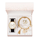Alexis Bendel D Initial Womens Black 3-pc. Watch Boxed Set-7188g-42-E02