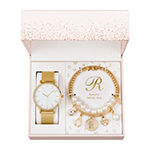 Alexis Bendel R Initial Womens Gold Tone 3-pc. Watch Boxed Set-7189g-42-E27