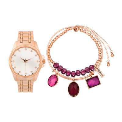 Alexis Bendel Garnet Womens Rose Goldtone Watch Boxed Set-6938r-42-C29