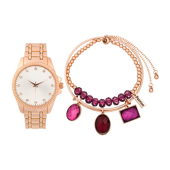 Alexis Bendel Garnet Womens Rose Goldtone 3-pc. Watch Boxed Set-6938r-42-C29