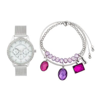 Alexis Bendel Amethyst Womens Silver Tone 3-pc. Watch Boxed Set-6939s-42-E28