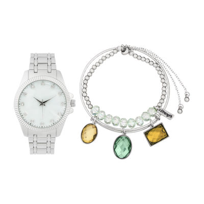 Alexis Bendel Aquamarine Womens Silver Tone Watch Boxed Set-6942s-42-E28