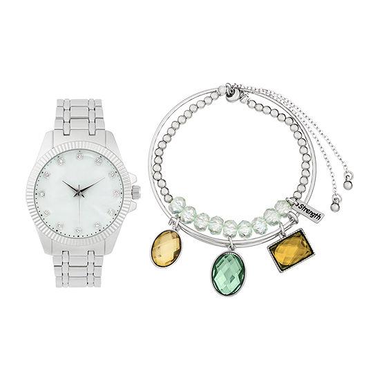Alexis Bendel Aquamarine Womens Silver Tone Watch Boxed Set-6942s-42-E28