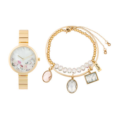 Alexis Bendel Clear Crystal Womens Gold Tone Watch Boxed Set-6948g-42-E27