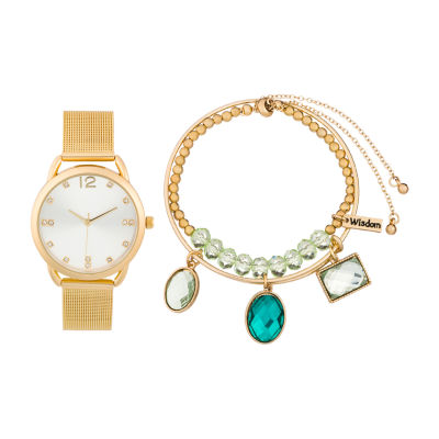 Alexis Bendel Emerald Womens Gold Tone Watch Boxed Set-6957g-42-B27