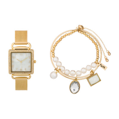 Alexis Bendel Pearl Womens Gold Tone 3-pc. Watch Boxed Set-6958g-42-E27