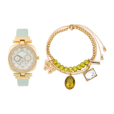 Alexis Bendel Peridot Womens Gold Tone Watch Boxed Set-6960g-42-E26