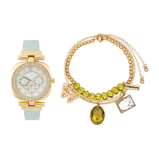 Alexis Bendel Peridot Womens Gold Tone 3 Pc Watch Boxed Set 6960g 42 E26