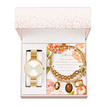 Alexis Bendel Citrine Womens Gold Tone Watch Boxed Set-7011g-42-A27