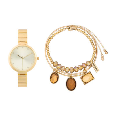 Alexis Bendel Citrine Womens Gold Tone 3-pc. Watch Boxed Set-7011g-42-A27