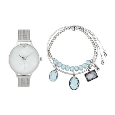 Alexis Bendel Blue Topaz Womens Gold Tone 3-pc. Watch Boxed Set-7012s-42-E28