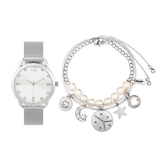 Alexis Bendel Cancer Womens Silver Tone 3 Pc Watch Boxed Set 7032s 42 B28