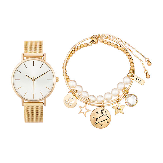Alexis Bendel Leo Womens Gold Tone 3-pc. Watch Boxed Set-7033g-42-E27