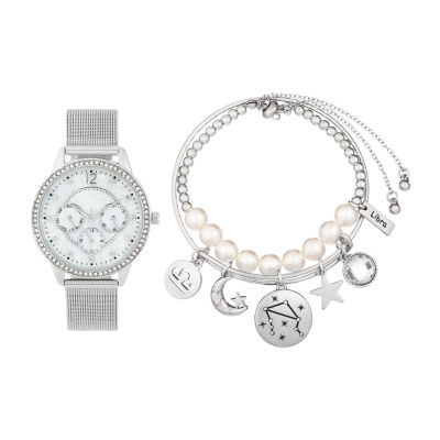 Alexis Bendel Libra Womens Silver Tone 3-pc. Watch Boxed Set-7035s-42-E28