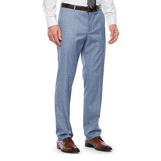 JF J.Ferrar Slate Blue Windowpane Classic Fit Stretch Suit Pants - Big and Tall