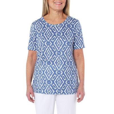 Cathy Daniels Athleisure Womens Scoop Neck Short Sleeve T-Shirt