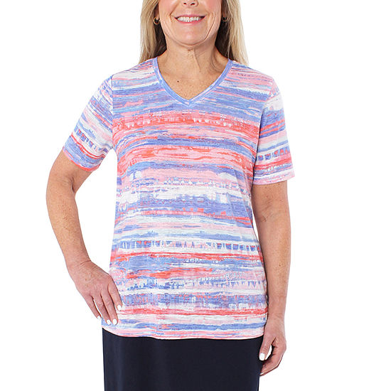 Cathy Daniels Athleisure Womens V Neck Short Sleeve T Shirt