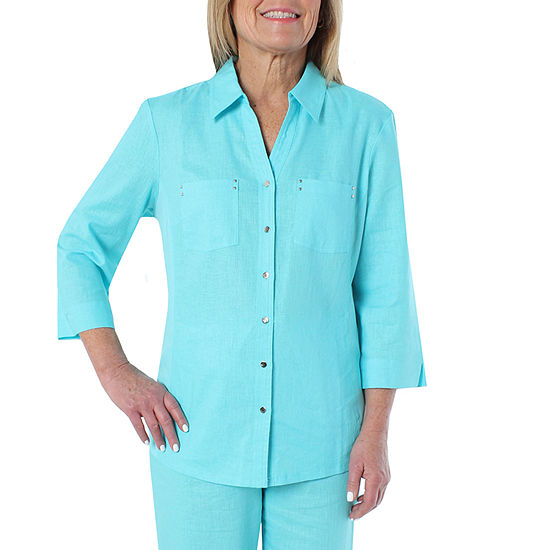 Cathy Daniels Linen Womens 3/4 Sleeve Blouse